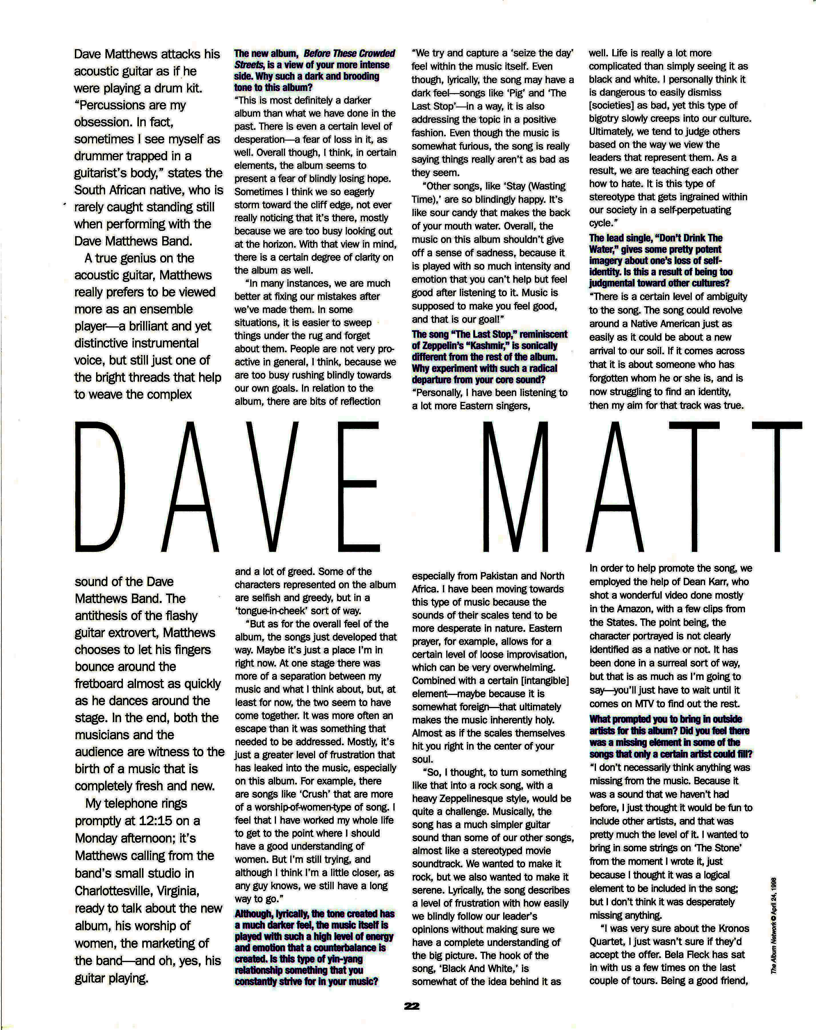 dave matthews essay Everybody gets to like dave matthews again oh joy dmb's ninth album has a  classic feel to it, like the band is recalling all the forms of song.