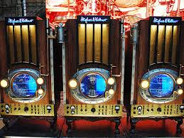 Alex Lifeson's steampunk-inspired Hughes & Kettner cabinets, specially designed for the Time Machine tour